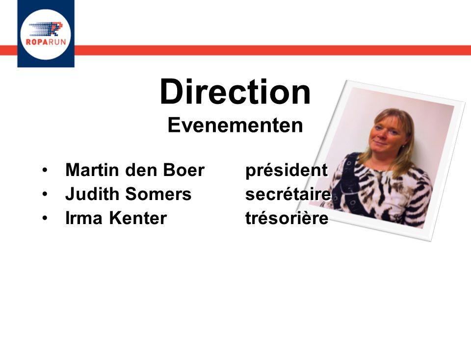 Direction Evenementen Martin den Boer président Judith Somers secrétaire Irma Kenters trésorière Peter Dennig vice-président.