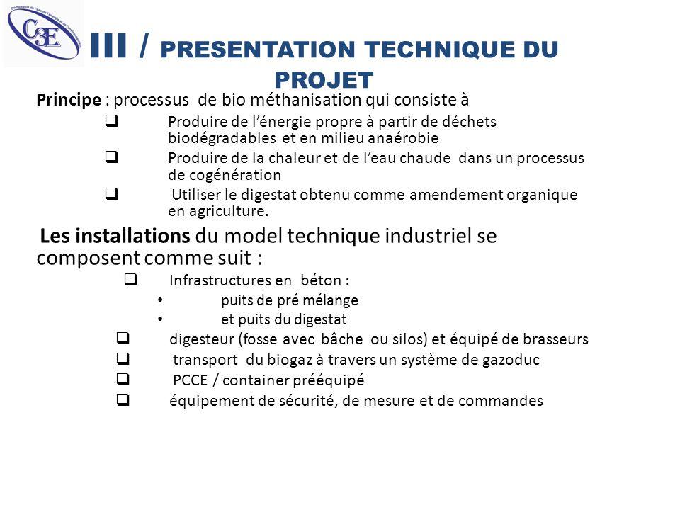 III / PRESENTATION TECHNIQUE DU PROJET Principe : processus de bio méthanisation qui consiste à Produire de lénergie propre à partir de déchets biodég