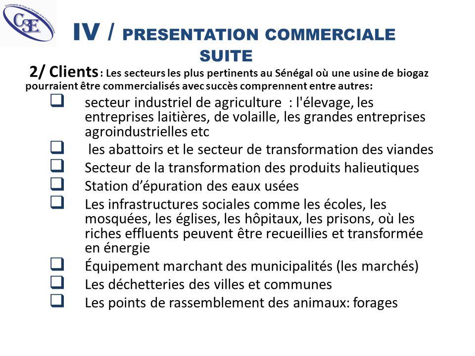 IV / PRESENTATION COMMERCIALE SUITE 2/ Clients : Les secteurs les plus pertinents au Sénégal où une usine de biogaz pourraient être commercialisés ave