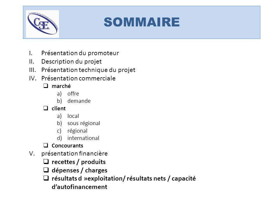 SOMMAIRE I.Présentation du promoteur II.Description du projet III.Présentation technique du projet IV.Présentation commerciale marché a)offre b)demand
