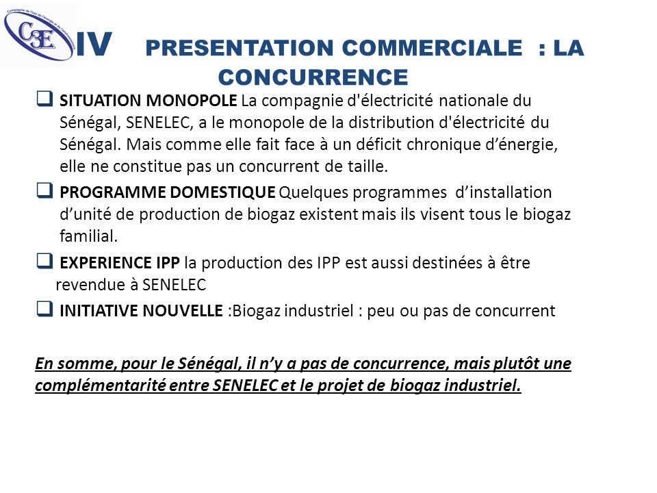 IV PRESENTATION COMMERCIALE : LA CONCURRENCE SITUATION MONOPOLE La compagnie d'électricité nationale du Sénégal, SENELEC, a le monopole de la distribu