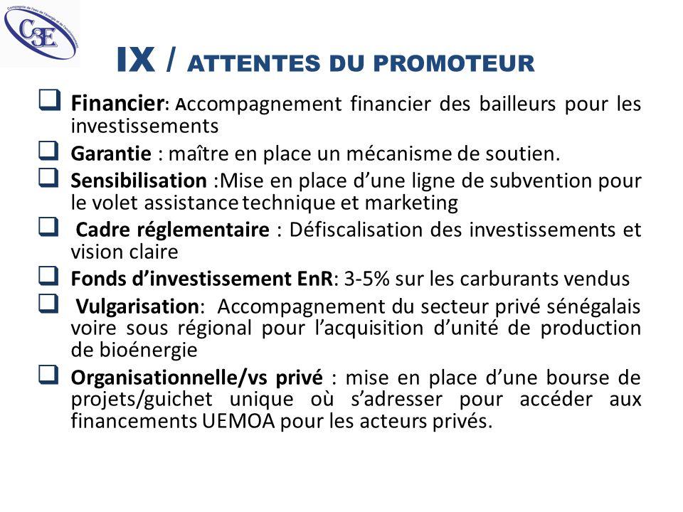 IX / ATTENTES DU PROMOTEUR Financier : A ccompagnement financier des bailleurs pour les investissements Garantie : maître en place un mécanisme de sou