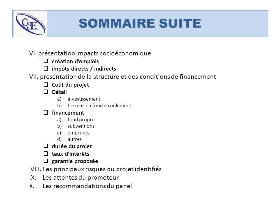 SOMMAIRE SUITE VI. présentation impacts socioéconomique création demplois impôts directs / indirects VII. présentation de la structure et des conditio