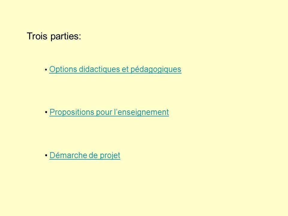 Trois parties: Options didactiques et pédagogiques Propositions pour lenseignement Démarche de projet