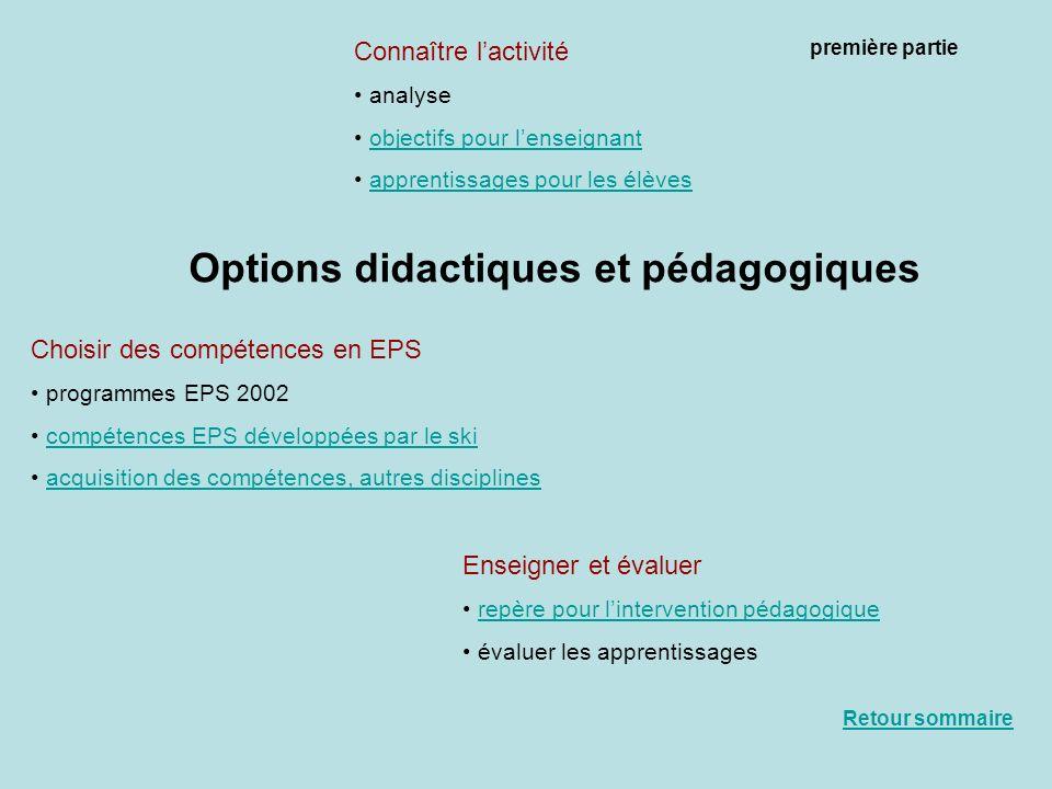 Options didactiques et pédagogiques Connaître lactivité analyse objectifs pour lenseignant apprentissages pour les élèves Choisir des compétences en E