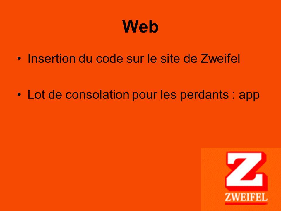 Web Insertion du code sur le site de Zweifel Lot de consolation pour les perdants : app