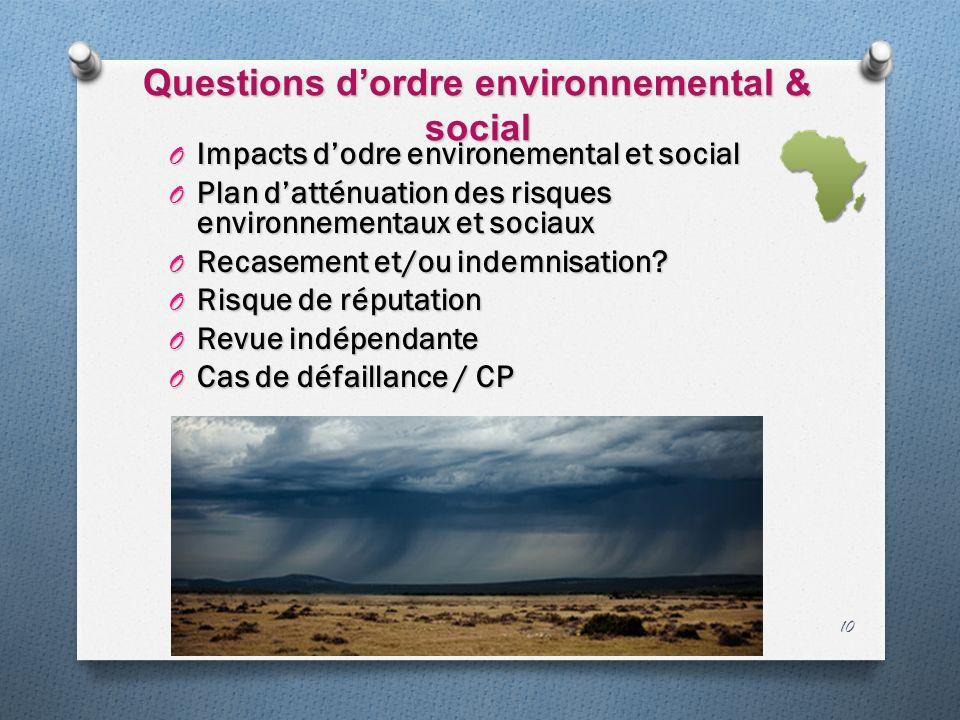 Questions dordre environnemental & social O Impacts dodre environemental et social O Plan datténuation des risques environnementaux et sociaux O Recasement et/ou indemnisation.