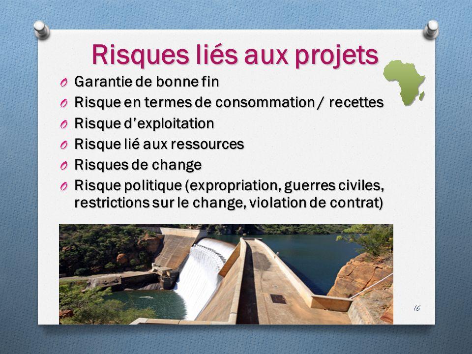 Risques liés aux projets 16 O Garantie de bonne fin O Risque en termes de consommation / recettes O Risque dexploitation O Risque lié aux ressources O