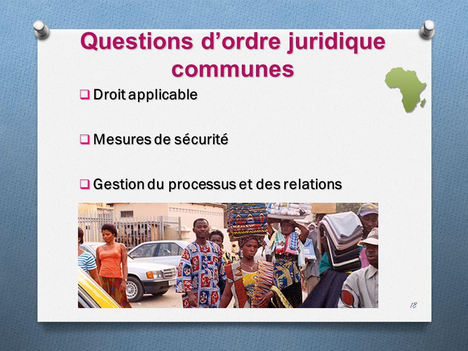Questions dordre juridique communes Droit applicable Droit applicable Mesures de sécurité Mesures de sécurité Gestion du processus et des relations Gestion du processus et des relations 18