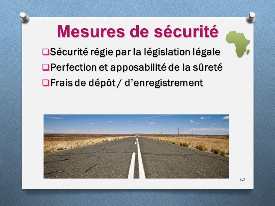 Mesures de sécurité Sécurité régie par la législation légale Sécurité régie par la législation légale Perfection et apposabilité de la sûreté Perfection et apposabilité de la sûreté Frais de dépôt / denregistrement Frais de dépôt / denregistrement 23