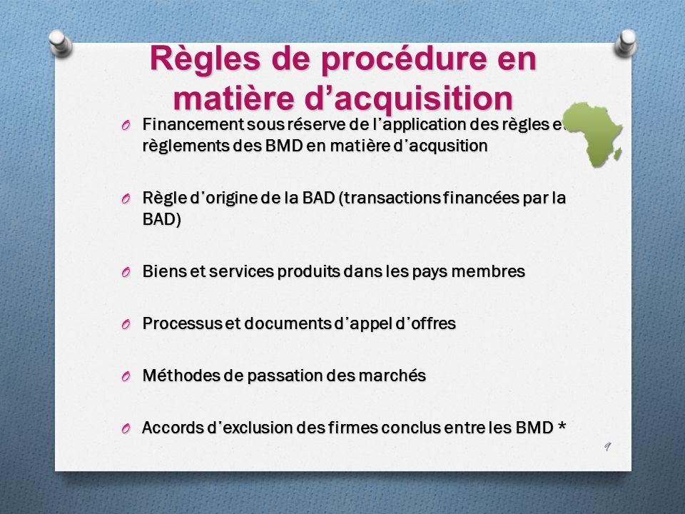 Règles de procédure en matière dacquisition O Financement sous réserve de lapplication des règles et règlements des BMD en matière dacqusition O Règle
