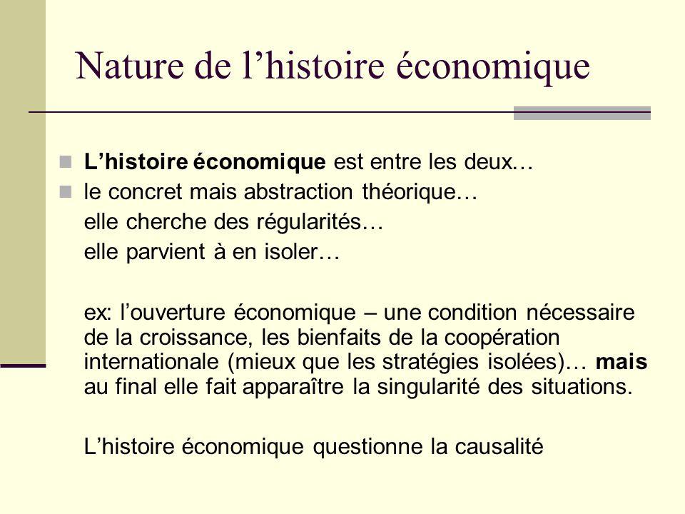 Nature de lhistoire économique Lhistoire économique est entre les deux… le concret mais abstraction théorique… elle cherche des régularités… elle parv