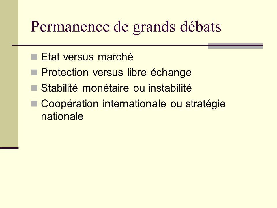 Permanence de grands débats Etat versus marché Protection versus libre échange Stabilité monétaire ou instabilité Coopération internationale ou stratégie nationale