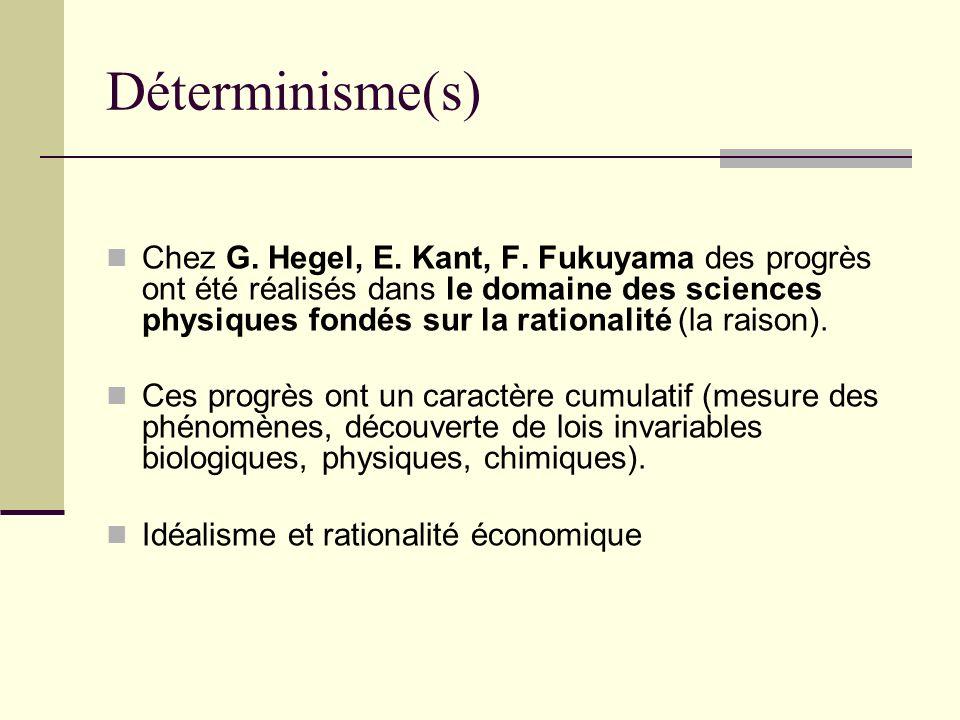 Déterminisme(s) Chez G. Hegel, E. Kant, F. Fukuyama des progrès ont été réalisés dans le domaine des sciences physiques fondés sur la rationalité (la