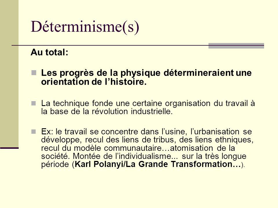 Déterminisme(s) Au total: Les progrès de la physique détermineraient une orientation de lhistoire. La technique fonde une certaine organisation du tra