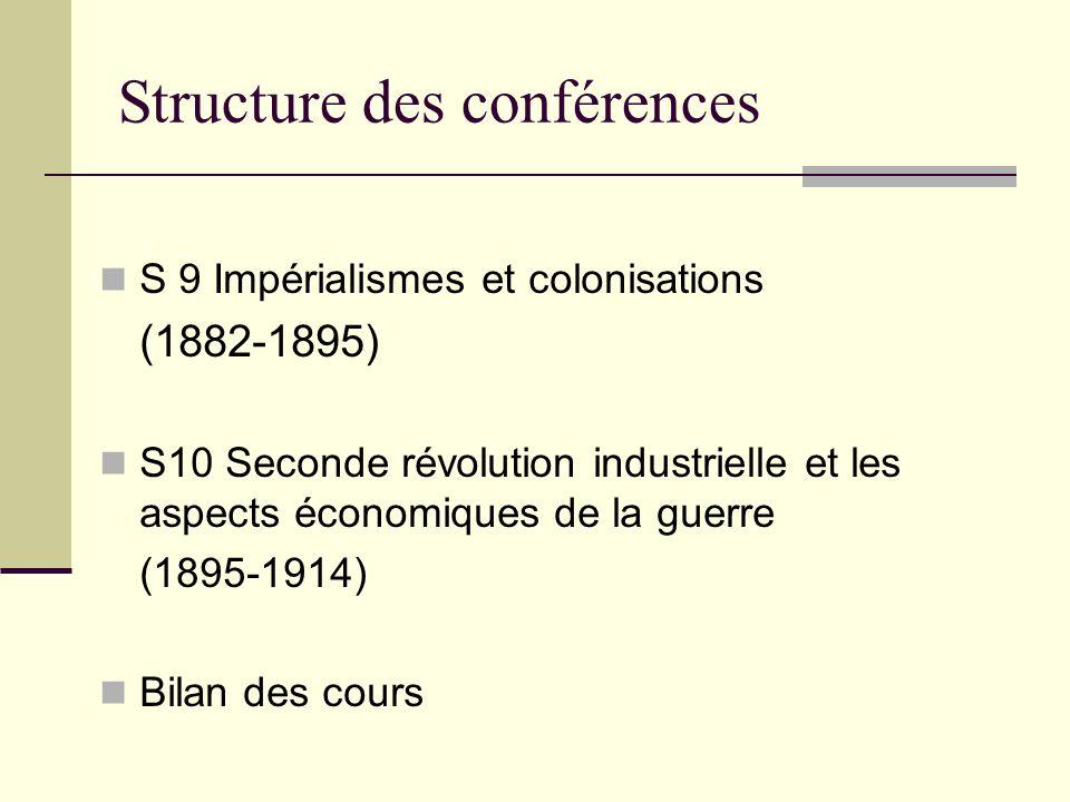 Structure des conférences S 9 Impérialismes et colonisations (1882-1895) S10 Seconde révolution industrielle et les aspects économiques de la guerre (1895-1914) Bilan des cours