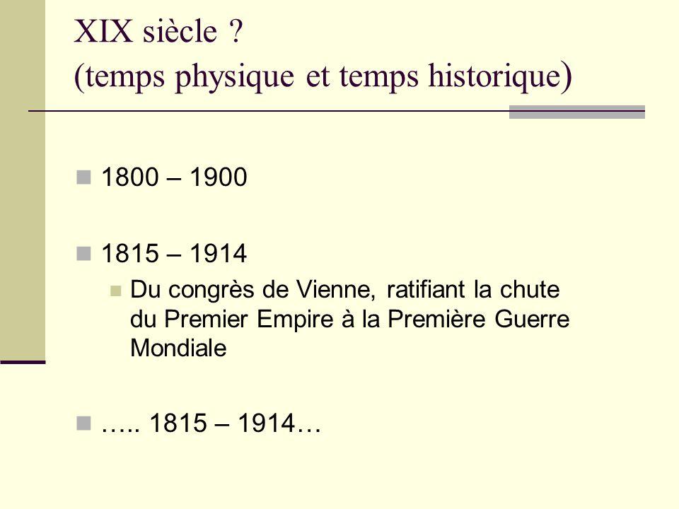 XIX siècle ? (temps physique et temps historique ) 1800 – 1900 1815 – 1914 Du congrès de Vienne, ratifiant la chute du Premier Empire à la Première Gu