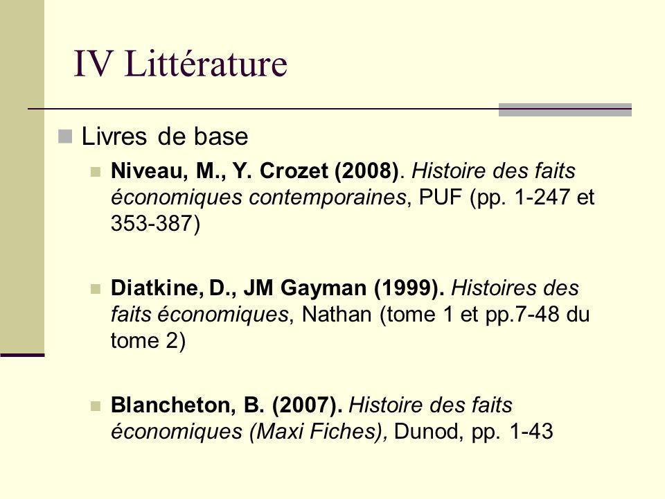IV Littérature Livres de base Niveau, M., Y. Crozet (2008). Histoire des faits économiques contemporaines, PUF (pp. 1-247 et 353-387) Diatkine, D., JM
