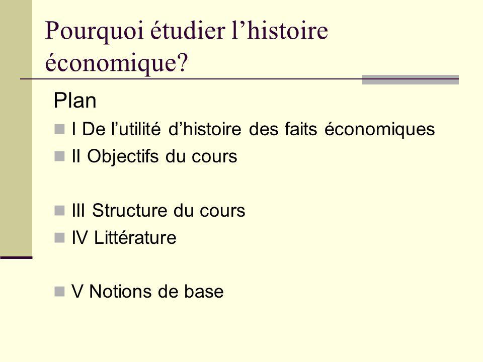 Pourquoi étudier lhistoire économique? Plan I De lutilité dhistoire des faits économiques II Objectifs du cours III Structure du cours IV Littérature