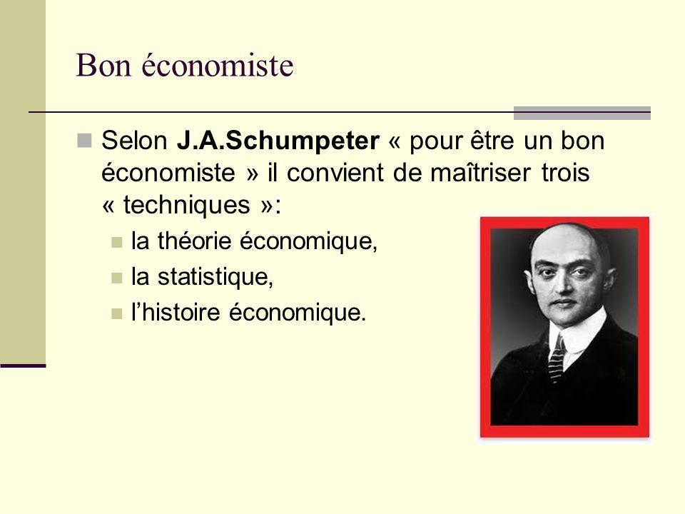 Bon économiste Selon J.A.Schumpeter « pour être un bon économiste » il convient de maîtriser trois « techniques »: la théorie économique, la statistiq