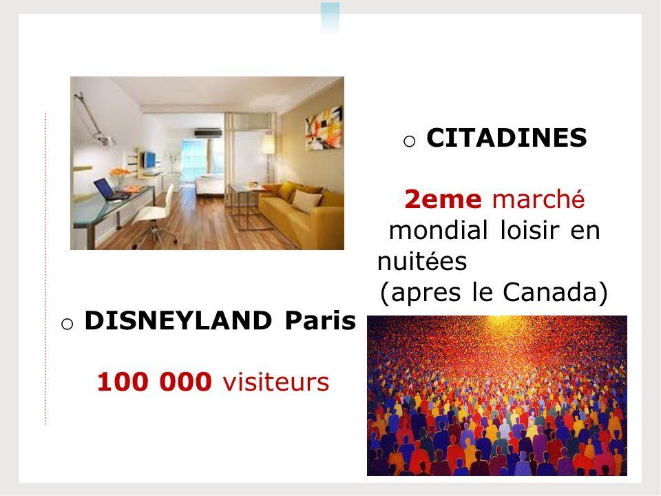 o DISNEYLAND Paris 100 000 visiteurs o CITADINES 2eme march é mondial loisir en nuit é es (apres le Canada)