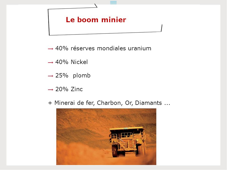 Le boom minier 40% réserves mondiales uranium 40% Nickel 25% plomb 20% Zinc + Minerai de fer, Charbon, Or, Diamants...
