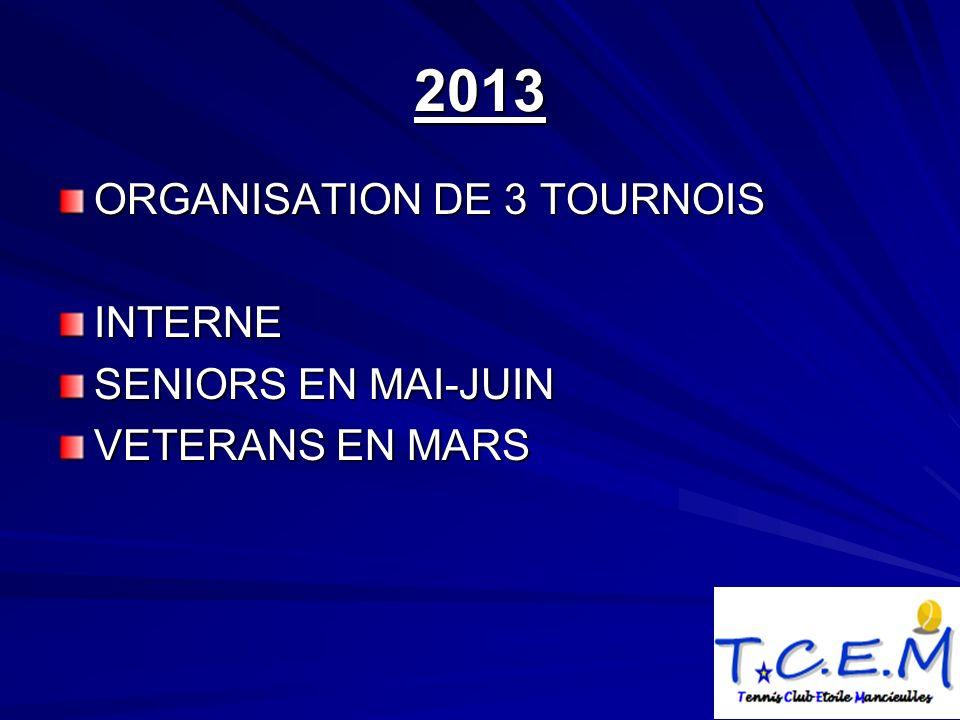 2013 ORGANISATION DE 3 TOURNOIS INTERNE SENIORS EN MAI-JUIN VETERANS EN MARS