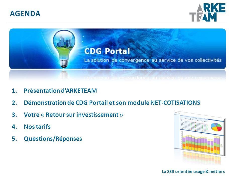 La SSII orientée usage & métiers 1.Présentation dARKETEAM 2.Démonstration de CDG Portail et son module NET-COTISATIONS 3.Votre « Retour sur investisse