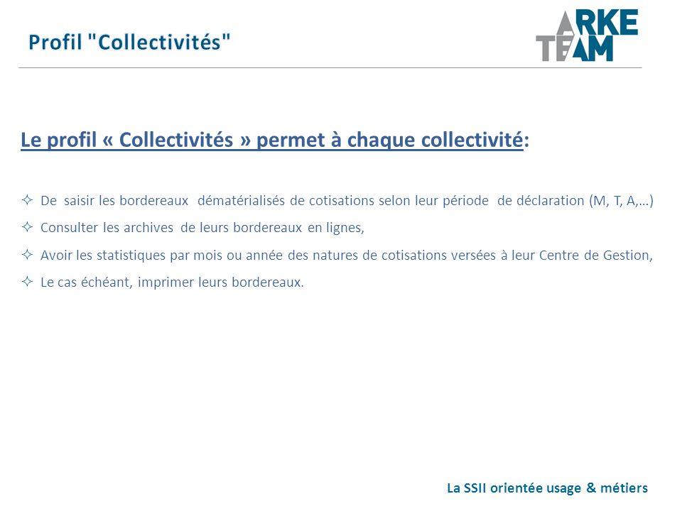La SSII orientée usage & métiers Le profil « Collectivités » permet à chaque collectivité: De saisir les bordereaux dématérialisés de cotisations selo