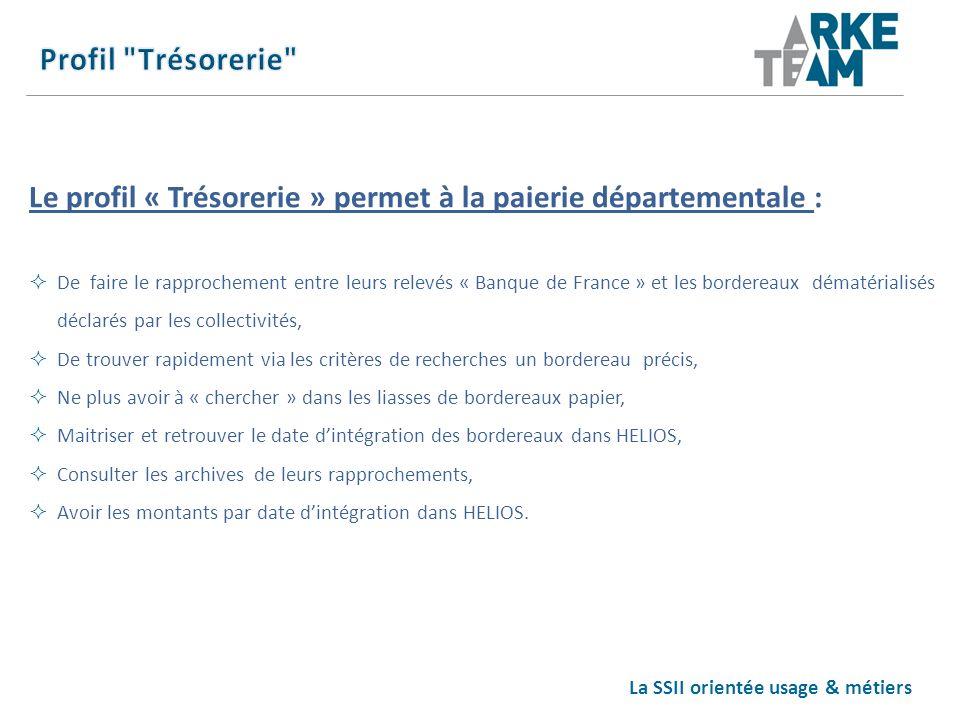La SSII orientée usage & métiers Le profil « Trésorerie » permet à la paierie départementale : De faire le rapprochement entre leurs relevés « Banque