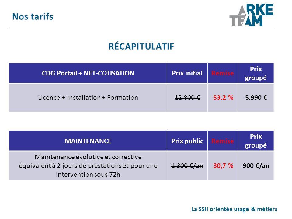 La SSII orientée usage & métiers CDG Portail + NET-COTISATIONPrix initialRemise Prix groupé Licence + Installation + Formation12.800 53.2 %5.990 MAINT
