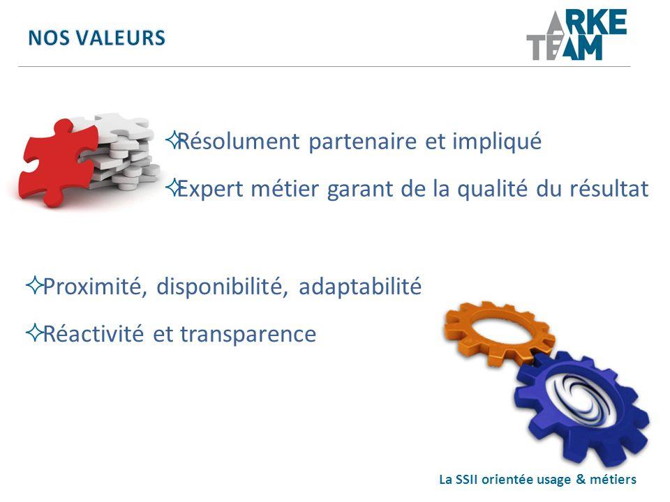 La SSII orientée usage & métiers Résolument partenaire et impliqué Expert métier garant de la qualité du résultat Proximité, disponibilité, adaptabili
