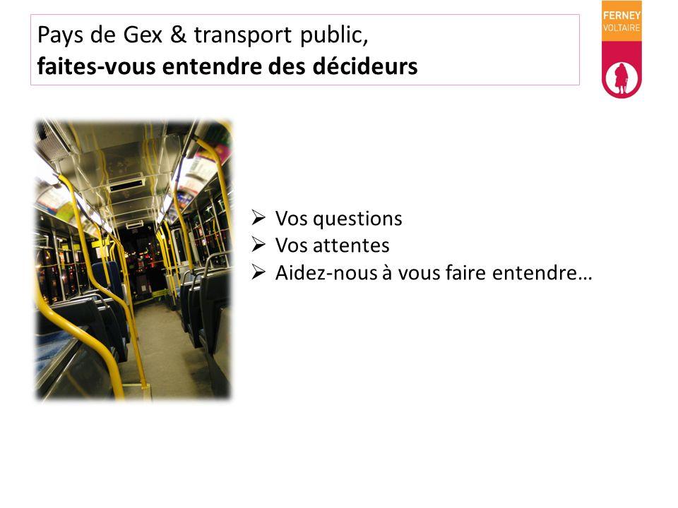 Pays de Gex & transport public, faites-vous entendre des décideurs Vos questions Vos attentes Aidez-nous à vous faire entendre…