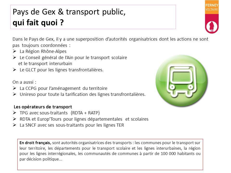 Pays de Gex & transport public, qui fait quoi ? Dans le Pays de Gex, il y a une superposition dautorités organisatrices dont les actions ne sont pas t
