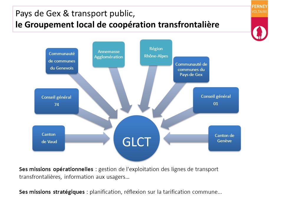 Pays de Gex & transport public, le Groupement local de coopération transfrontalière GLCT Canton de Vaud Annemasse Agglomération Conseil général 74 Com