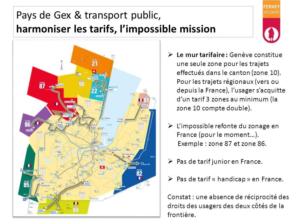 Pays de Gex & transport public, harmoniser les tarifs, limpossible mission Le mur tarifaire : Genève constitue une seule zone pour les trajets effectu