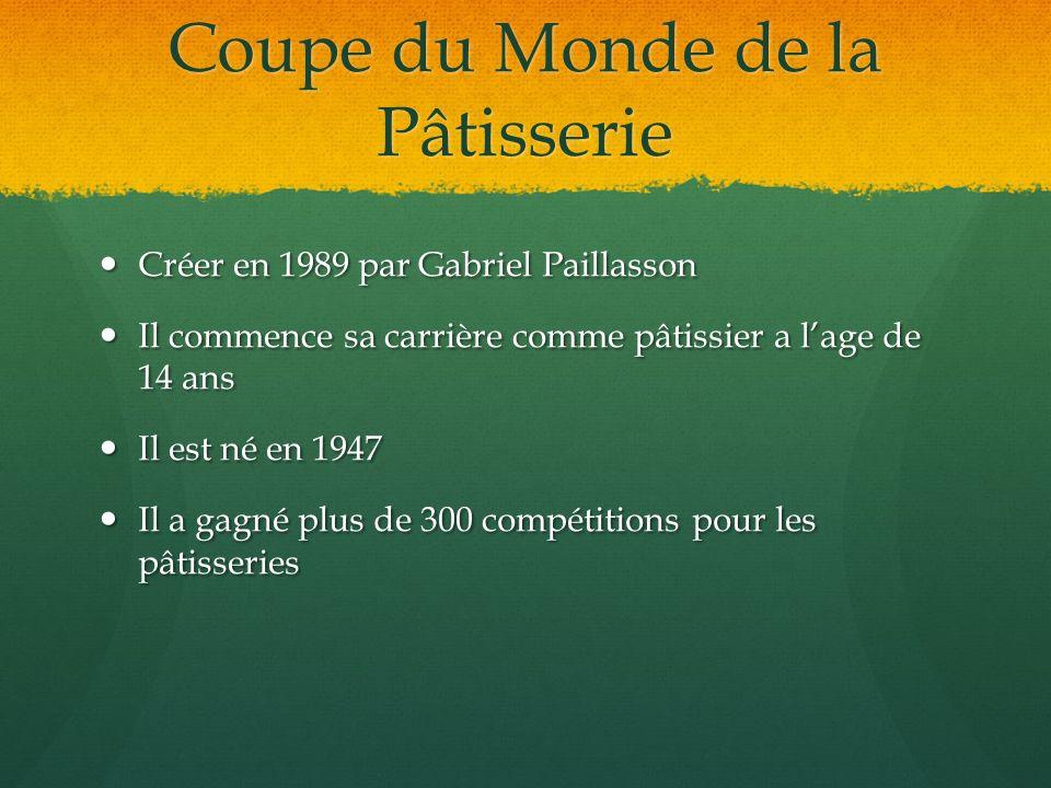 Coupe du Monde de la Pâtisserie Créer en 1989 par Gabriel Paillasson Créer en 1989 par Gabriel Paillasson Il commence sa carrière comme pâtissier a la