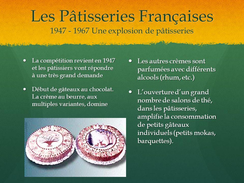 Les Pâtisseries Françaises 1947 - 1967 Une explosion de pâtisseries La compétition revient en 1947 et les pâtissiers vont répondre à une très grand de