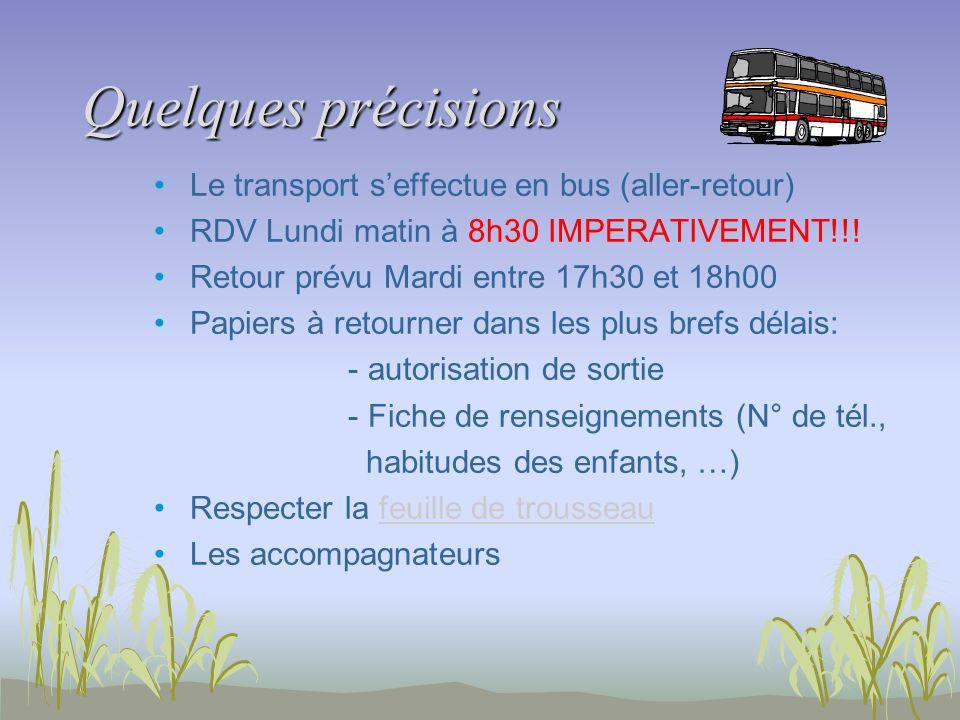 Quelques précisions Le transport seffectue en bus (aller-retour) RDV Lundi matin à 8h30 IMPERATIVEMENT!!! Retour prévu Mardi entre 17h30 et 18h00 Papi