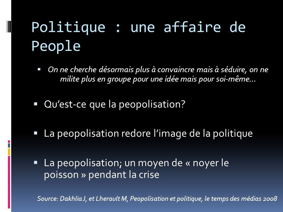 Politique : une affaire de People On ne cherche désormais plus à convaincre mais à séduire, on ne milite plus en groupe pour une idée mais pour soi-mê