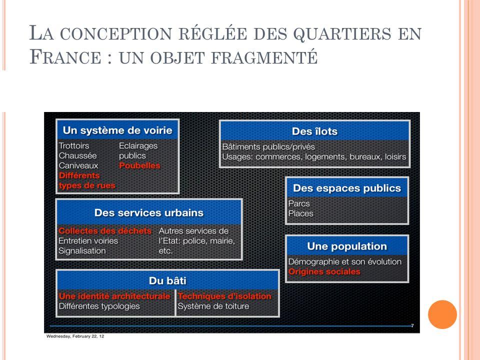 L A CONCEPTION RÉGLÉE DES QUARTIERS EN F RANCE : UN OBJET FRAGMENTÉ