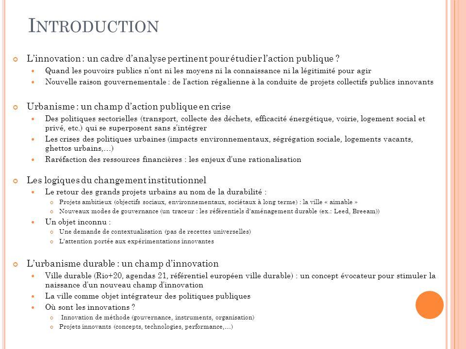 I NTRODUCTION Linnovation : un cadre danalyse pertinent pour étudier laction publique .