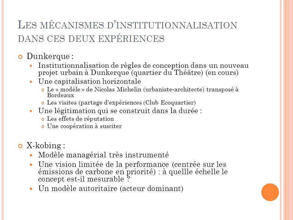 L ES MÉCANISMES D INSTITUTIONNALISATION DANS CES DEUX EXPÉRIENCES Dunkerque : Institutionnalisation de règles de conception dans un nouveau projet urbain à Dunkerque (quartier du Théâtre) (en cours) Une capitalisation horizontale Le « modèle » de Nicolas Michelin (urbaniste-architecte) transposé à Bordeaux Les visites (partage dexpériences (Club Ecoquartier) Une légitimation qui se construit dans la durée : Les effets de réputation Une coopération à susciter X-kobing : Modèle managérial très instrumenté Une vision limitée de la performance (centrée sur les émissions de carbone en priorité) : à quellle échelle le concept est-il mesurable .