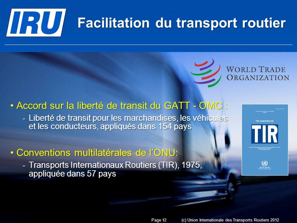Facilitation du transport routier Accord sur la liberté de transit du GATT - OMC :Accord sur la liberté de transit du GATT - OMC : - Liberté de transit pour les marchandises, les véhicules et les conducteurs, appliqués dans 154 pays Conventions multilatérales de lONU:Conventions multilatérales de lONU: - Transports Internationaux Routiers (TIR), 1975, appliquée dans 57 pays Page 12(c) Union Internationale des Transports Routiers 2012