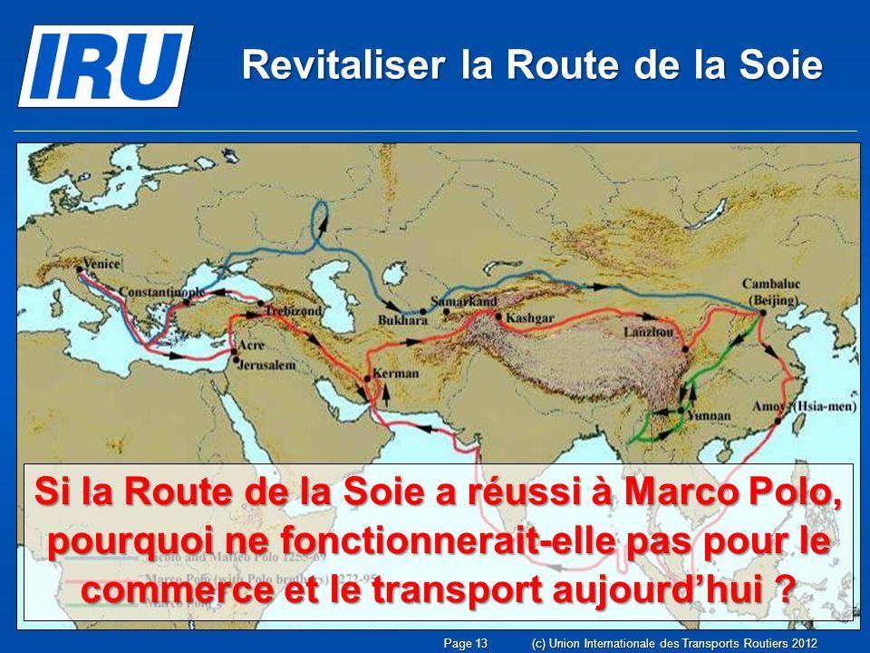 Si la Route de la Soie a réussi à Marco Polo, pourquoi ne fonctionnerait-elle pas pour le commerce et le transport aujourdhui .
