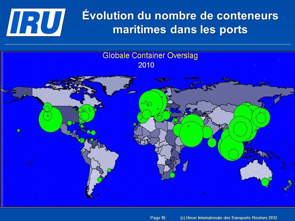 2010 Évolution du nombre de conteneurs maritimes dans les ports Page 16(c) Union Internationale des Transports Routiers 2012