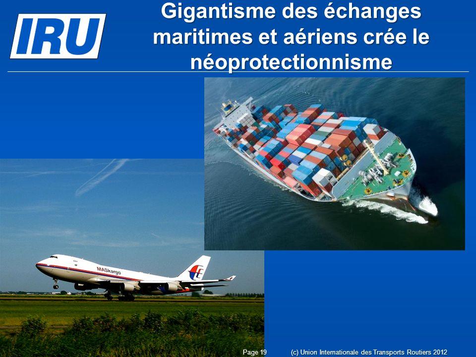 Gigantisme des échanges maritimes et aériens crée le néoprotectionnisme (c) Union Internationale des Transports Routiers 2012Page 19