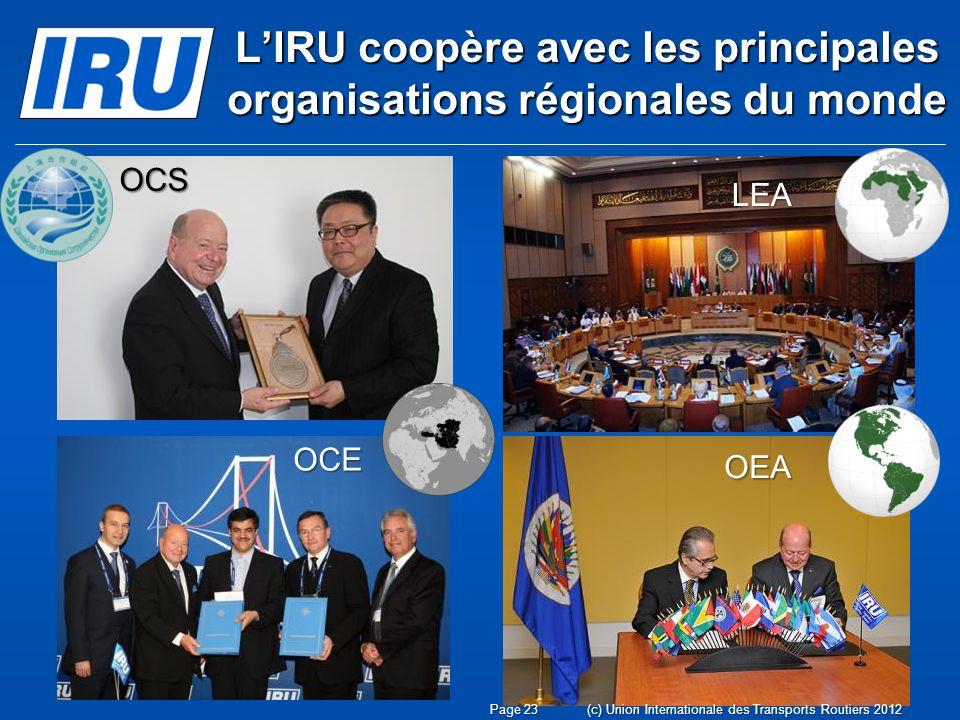 LIRU coopère avec les principales organisations régionales du monde OEA LEA OCE Page 23(c) Union Internationale des Transports Routiers 2012 OCS