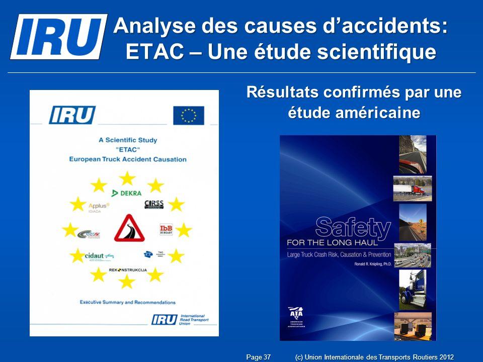 Analyse des causes daccidents: ETAC – Une étude scientifique Résultats confirmés par une étude américaine Page 37(c) Union Internationale des Transports Routiers 2012