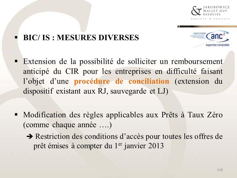BIC/ IS : MESURES DIVERSES Extension de la possibilité de solliciter un remboursement anticipé du CIR pour les entreprises en difficulté faisant lobje